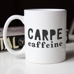 carpe caffeine coffee mug