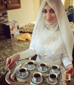 bride serving turkish coffee