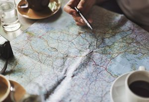 coffee and travel map
